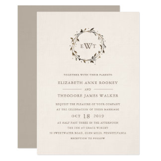 Monogram Wreath Wedding Invitation | Twig