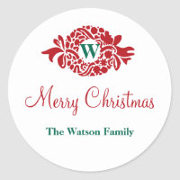 Monogram wreath white Christmas holiday gift tag