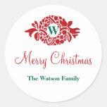 Monogram wreath white Christmas holiday gift tag Round Sticker