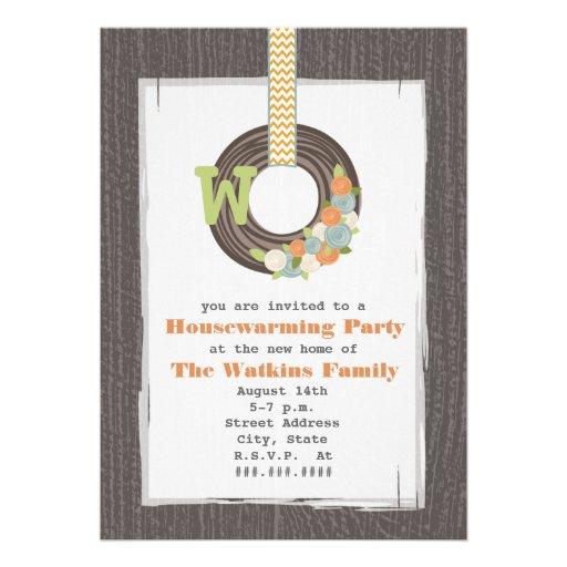 Monogram Wreath Wood Inspired Housewarming Party Custom Invites