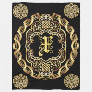 Monogram X CUSTOMIZE To Change Background Color Fleece Blanket