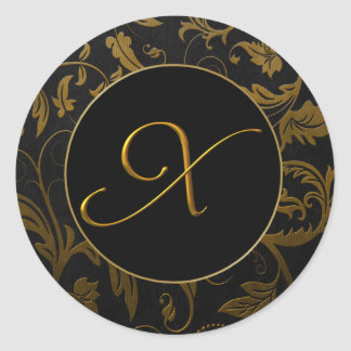 Monogram X Gold and Black Damask Wedding Seal