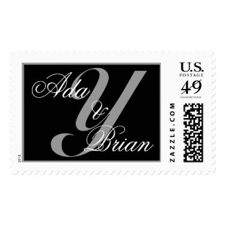 Monogram Y and Names Scroll Stamp