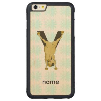 Monogram Y Funny Pony Personalised Carved® Maple iPhone 6 Plus Bumper