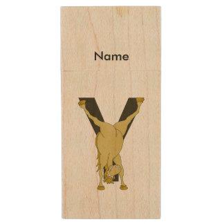 Monogram Y Funny Pony Personalised Wood USB 2.0 Flash Drive