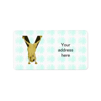 Monogram Y Funny Pony Personalized Label