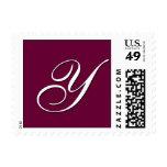 "Monogram ""Y"" Postage Stamp (Square Size) Wine"