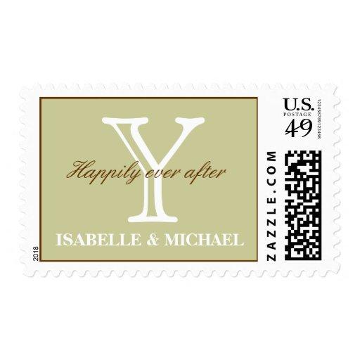 Monogram Y Sage Chocolate Elegance Postage Stamp