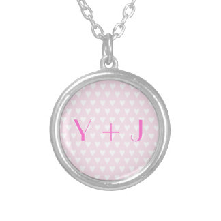Monogram Y sweethearts initials pink love hearts Round Pendant Necklace