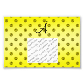 Monogram yellow anchors polka dots photographic print
