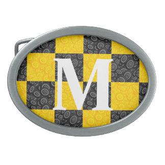 Monogram Yellow and Black Checker Belt Buckle