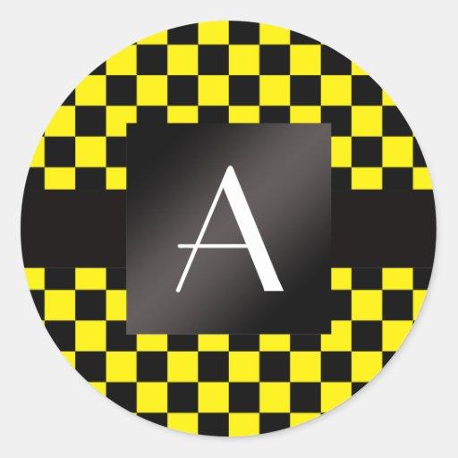 Monogram yellow and black checkers round sticker