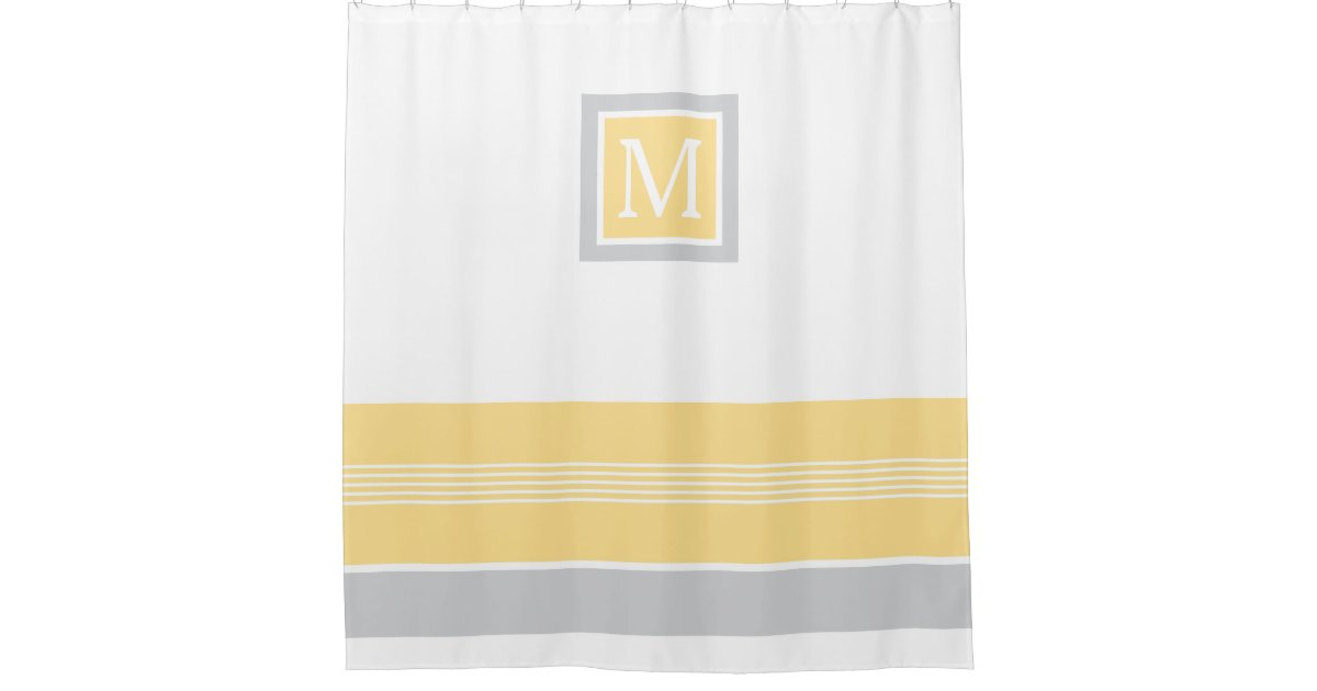 Monogram Yellow And Gray Striped Border Shower Curtain