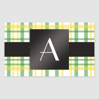 Monogram yellow and green plaid rectangle sticker