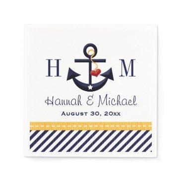 Beach Themed Monogram Yellow and Navy Anchor Nautical Wedding Paper Napkin