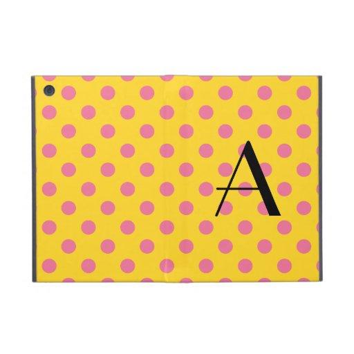 Monogram yellow and pink polka dots cover for iPad mini