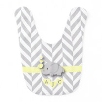 Monogram Yellow And White Chevron Baby Elephant Bib