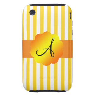 Monogram yellow and white stripes tough iPhone 3 case