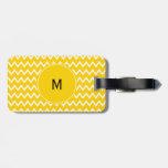 Monogram Yellow and White Zigzag Pattern Bag Tag