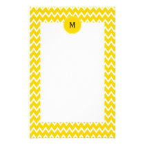 Monogram Yellow and White Zigzag Pattern Stationery