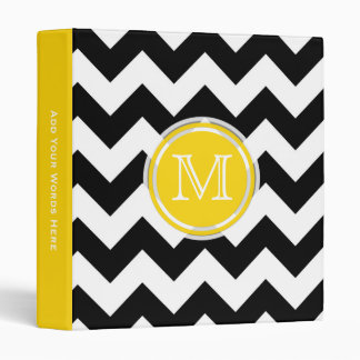 Monogram: Yellow Black And White Chevron Binder