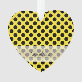 Monogram Yellow Black Cute Chic Polka Dot Pattern