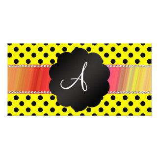 Monogram yellow black polka dots photo greeting card