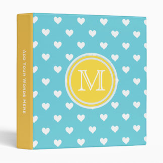 Monogram: Yellow Blue White Heart Binder