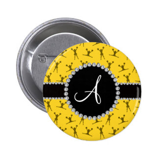 Monogram yellow cheerleading black circle button