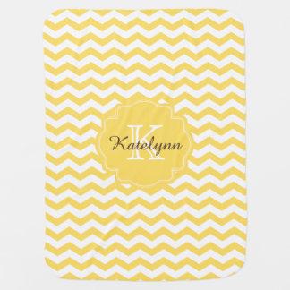Monogram Yellow Chevron Zigzag Custom Baby Blanket