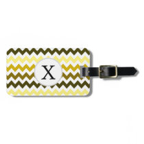Monogram Yellow Chevron ZigZag Pattern Bag Tag