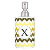 Monogram Yellow Chevron ZigZag Pattern Bathroom Set