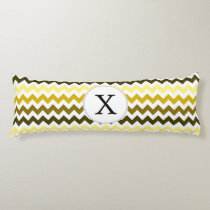 Monogram Yellow Chevron ZigZag Pattern Body Pillow