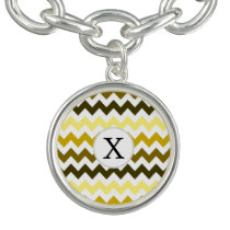 Monogram Yellow Chevron ZigZag Pattern Bracelets
