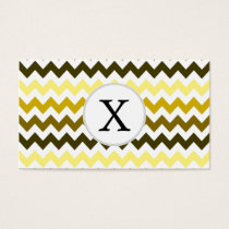 Monogram Yellow Chevron ZigZag Pattern Business Card