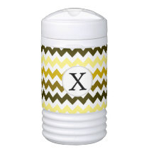 Monogram Yellow Chevron ZigZag Pattern Cooler