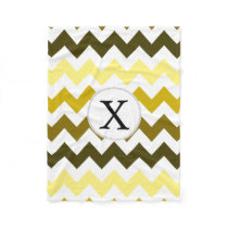 Monogram Yellow Chevron ZigZag Pattern Fleece Blanket