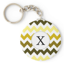 Monogram Yellow Chevron ZigZag Pattern Keychain