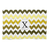 Monogram Yellow Chevron ZigZag Pattern Kitchen Towel