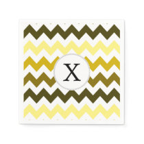 Monogram Yellow Chevron ZigZag Pattern Paper Napkin