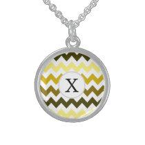 Monogram Yellow Chevron ZigZag Pattern Sterling Silver Necklace