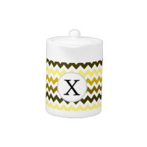 Monogram Yellow Chevron ZigZag Pattern Teapot
