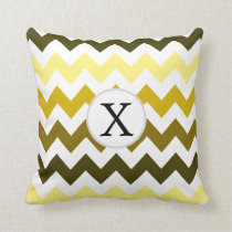 Monogram Yellow Chevron ZigZag Pattern Throw Pillow