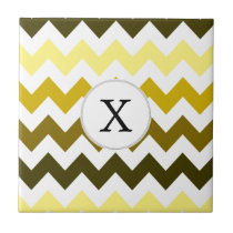 Monogram Yellow Chevron ZigZag Pattern Tile