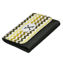 Monogram Yellow Chevron ZigZag Pattern Women's Wallets