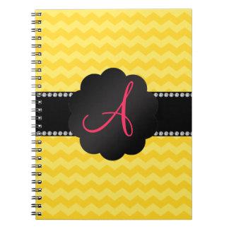 Monogram yellow chevrons spiral notebook