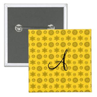 Monogram yellow christmas stars snowflakes button