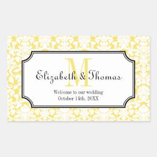 Monogram yellow damask frame out of town gift bag rectangular sticker