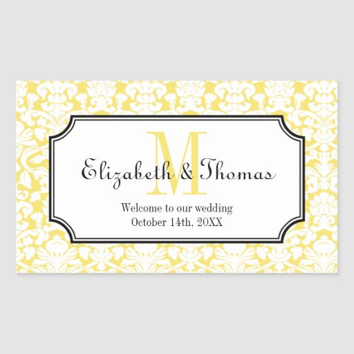 Monogram yellow damask frame out of town gift bag rectangular sticker