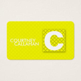 Monogram yellow diamond checkered business card